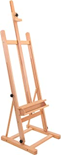 """U.S. Art Supply Medium Wooden H-Frame Studio Easel with Artist Storage Tray - Mast Adjustable to 96"""" High, Holds Canvas to 48"""" - Sturdy Beechwood Holder Floor Stand - Display Paintings, Portraits"""