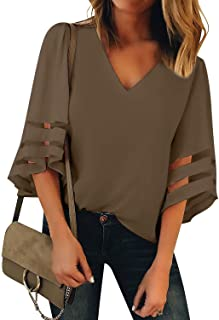 de4990eb1bbe9 LookbookStore Women s V Neck Mesh Panel Blouse 3 4 Bell Sleeve Loose Top  Shirt