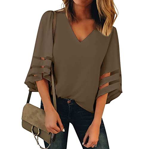 103f519bfe LookbookStore Women s V Neck Mesh Panel Blouse 3 4 Bell Sleeve Loose Top  Shirt