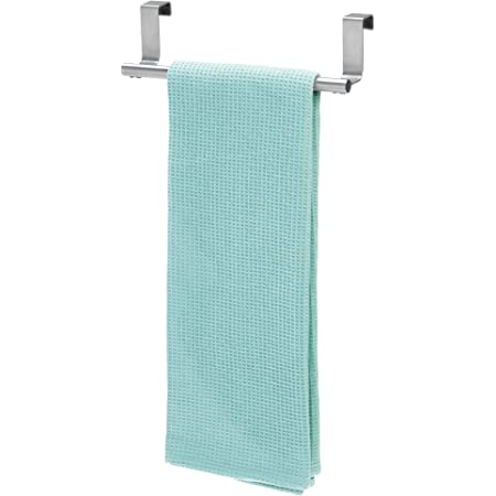 """iDesign Forma Metal Over the Cabinet Towel Bar, Hand Towel and Washcloth Rack for Bathroom and Kitchen , 9.25"""" x 2.5"""" x 2.5"""", Stainless Steel"""