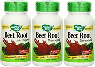 Nature's Way Beet Root 500 mg, 100 Vegetarian Capsules, Pack of 3