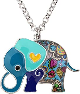 WEVENI Enamel Alloy Luck Elephant Necklace Animal Pendant Chain Jewelry Trendy Gifts for Women Girls Ladies