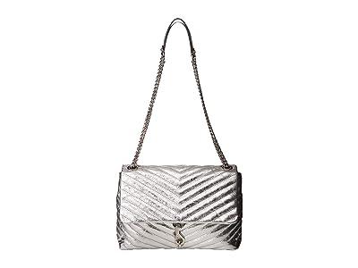 Rebecca Minkoff Edie Flap Shoulder Bag (Silver) Handbags