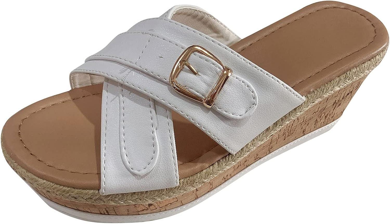 Lmtime Women's Slip-On Platform Sandals Casual Non-slip Wedge Open Toe Slippers Shoes Slide Sandal