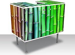wandmotiv24 Mueble de baño Bambú Colorido Asia Pegar Completa Mueble de diseño Mueble de Lavabo M0229