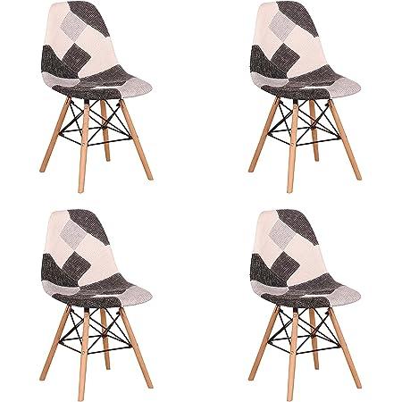 EGOONM Lot de 4 Chaise de Salle à Manger Multicolor Patchwork,Chaises en Tissu de Lin Loisirs Salon,Chaises avec Dossier à Coussin Souple (Noir)