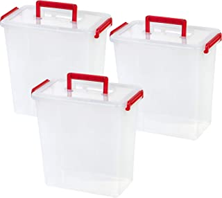 IRIS USA, MLBH-290DD, Holiday Bow Box with Handle, 11 Qt, Red, 3 Pack