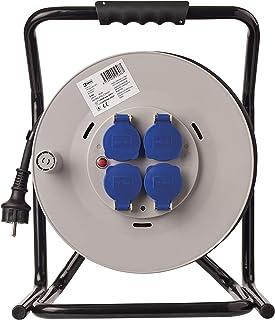 EMOS Profi Kabeltrommel mit extra beständigem Kabel, IP44 für Außenbereich, 50 m mit 4 Steckdosen mit Klappdeckeln, 2,5 mm Schuko, für Baustelle, Industrie, Dauerbetrieb im Freien