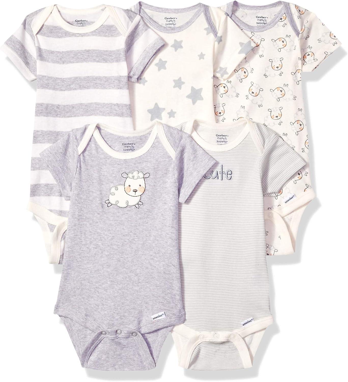 Gerber Unisex-baby 5-pack Or 15 Multi Size Organic Short Sleeve Onesies Bodysuits