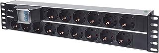 Intellinet 19 15-fach Steckdosenleiste Schutzkontakt Doppelter Leitungsschutzschalter 3 m Stromkabel 2 HE schwarz 714051