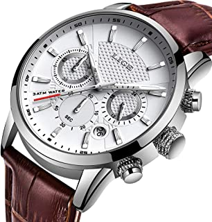 LIGE Men's Watch Fashion Waterproof Multifunction Analog Quartz Watch Classic Brown Leather Strap Blue dial Date/Calendar Clock