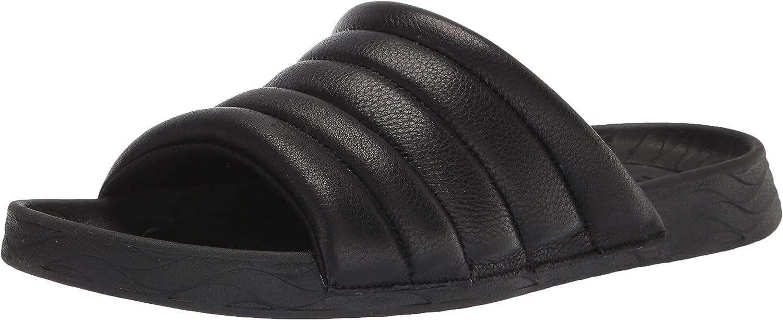 Kenneth Cole New York Men's Nova Quilted Leather Slide Sandal, Black, 9