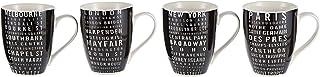 Symphony Tram Signs Mug Set of 4, 300 ml (Black and White)
