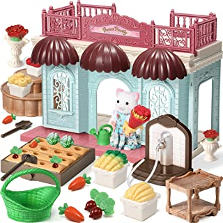 Geyiie Dollhouse Kit Set - 30pcs Doll House Playset and Kids Gardening Set,Vegetable Garden Play for Dollhouse with Cat Figurine,Watering Can and Miniature Accessories for 3 4 5 6 Year Old Girls Kids