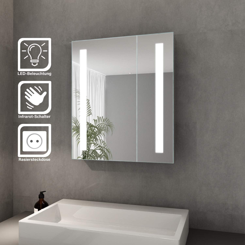 SONNI Spiegelschrank LED 20 türig Badezimmerspiegel mit Beleuchtung ...