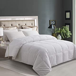 ELNIDO QUEEN White Goose Duck Down and Feather Comforter with 100% Cotton Cover-Lightweight Warmth All Season-Bedding Duvet Insert Stand Alone-King