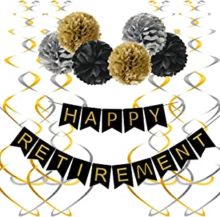 Famoby Happy Retirement Banner with Pom Poms Hanging Swirls Streamers Set for Retirement Party Decorations