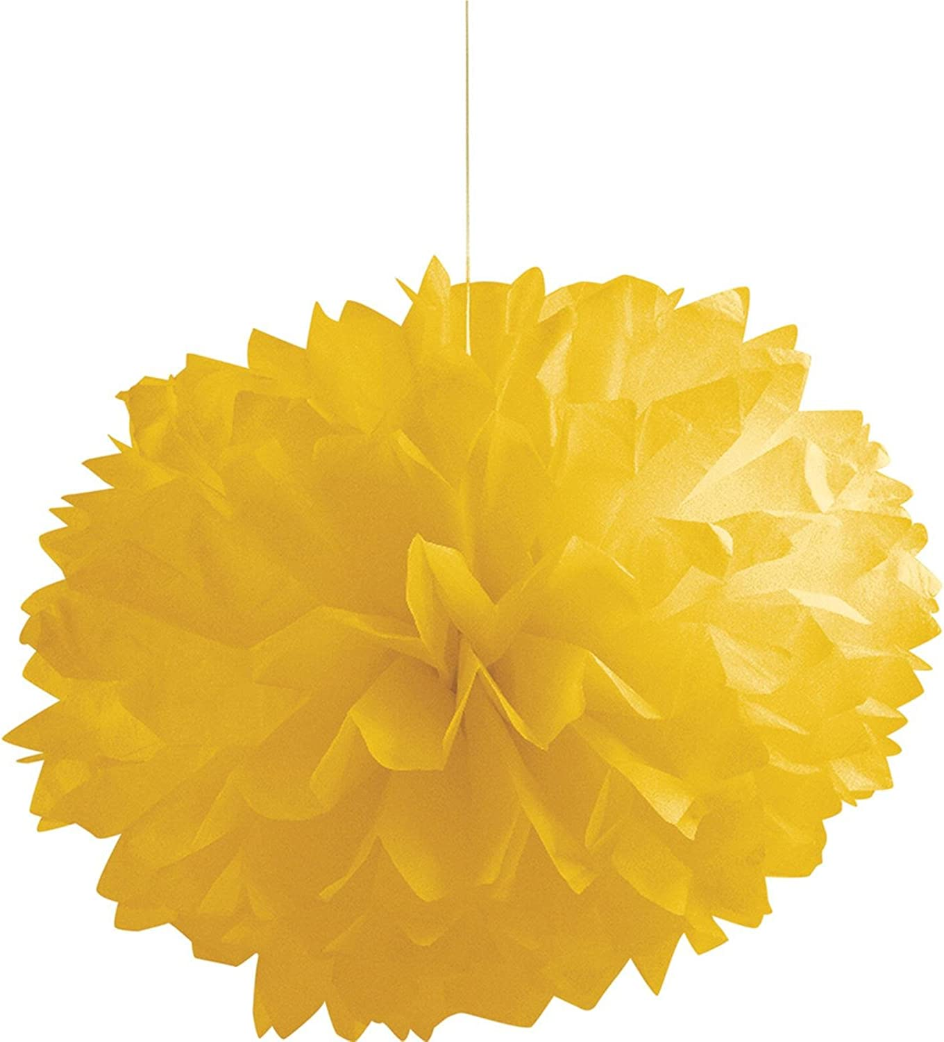 Club Pack of 36 Yellow Hanging Fluffy Tissue Balls Party Decorations 9.75""