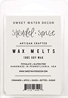 Sweet Water Decor Set of 2 Strudel and Spice Wax Melts Fall Soy Wax Warmer Cubes Tarts Apple Harvest Air Freshener Holiday Scented Wax Melts Autumn Scents Home Decor Cinnamon Scented Aromatherapy