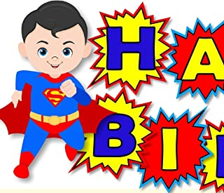 Personalized Superman Birthday Party or Baby Shower Banner- Optional Superheros, Batman, Captain America, Wonder Woman, Super Girl - Decorations Invitations, Sign, Favor Tags, Thank Yous - BCPCustom