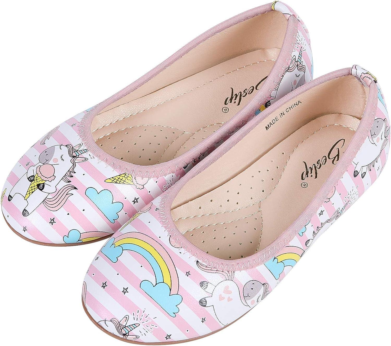 Beslip Girls Unicorn Princess Dress Shoes - Toddler Little Girls Ballet Flats Mary Jane Shoes