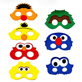 7pcs Sesame Street Cartoon Felt Masks Elmo Boys Girls Birthday Party Favors Supplies Dress-Up Cosplay