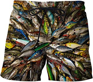 Men'S Hiking Shorts Beach Shorts 3D Fish Casual Straight Printed Shorts