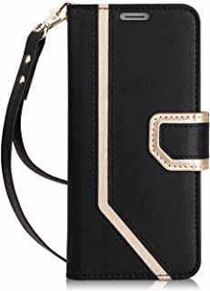 FYY Leather Case with Mirror for Samsung Galaxy S9, Leather Wallet Flip Folio Case with Mirror and Wrist Strap for Samsung Galaxy S9 Dark