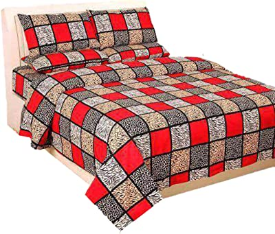 100% pur Cotton Red & Black Blocks Design Cotton Double Bed Sheet with Matching Pillow Cover