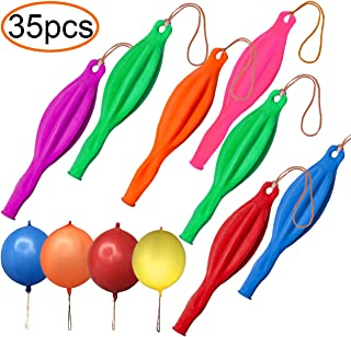 35 Pack Punching Balloons, Neon Punch Balls with Rubber Band Handle for Party, Wedding, Assorted Color