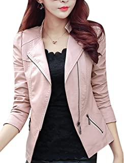 Tanming Women's Classic Asymmetrical Zip Faux Leather Moto Biker Jacket