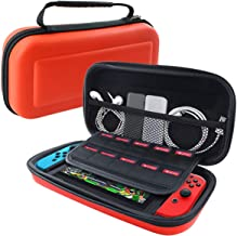 WTSHOP Red Carrying Case for Switch,10 Game Cartridge Holders inside,Hard Shell Protective Cover Portable Travel Bag for Nintendo Switch