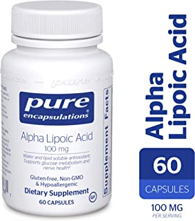 Pure Encapsulations - Alpha Lipoic Acid 100 mg - Hypoallergenic Water- and Lipid-Soluble Antioxidant Supplement - 60 Capsules