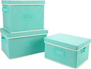 TQVAI Folding Storage Bins Closet Clothes Cubes with Lids and Label Sheet Holder Stackable Shelves Basket with Dual Handle - Mint Green