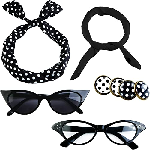 Aneco 6 Pack 50s Set Chiffon Scarf Cat Eye Glasses Bandana Tie Headband Earrings
