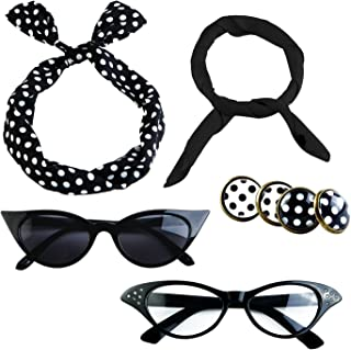 6 Pack 50s Set Chiffon Scarf Cat Eye Glasses Bandana Tie Headband Earrings