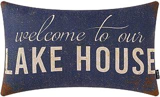 TRENDIN ラスティッドブルー Welcome to Our Lake House スロー枕カバー 20 x 12インチ ランバークッションケース コットンリネン 装飾PL569TR