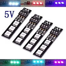 ShareGoo 4PCS 7 Colors 5V 5050 RGB LED Strip Night Light with DIP Switch for QAV250 FPV 210 ZMR250 F450 F550 Quadcopter