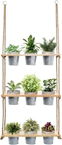 Hanging Herb Garden 3 Tiered Wall Shelf with Galvanized Pot Set, Wood Hanging Planter, Farmhouse Plant Decor, Rustic Succulent Hanger, Patio, Porch, Balcony, Boho Shelves, Multi Tier Vertical Stand