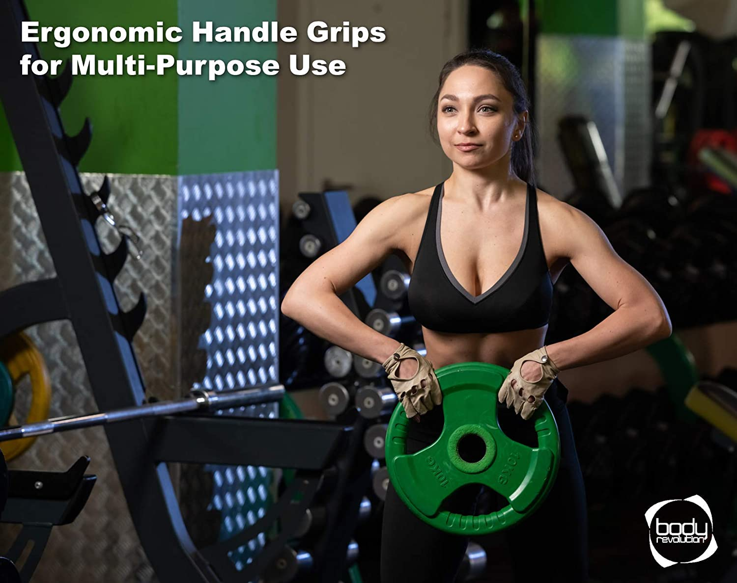 Tri Grip 2 Diameter Barbell weight plates Body Revolution Olympic Weight Plates Rubber Coated Cast Iron Weights Range of Weights Sold Separately
