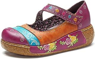 Wedges Sandals, Women's Colorful Flower Vintage Slip-on Leather Shoes Platform Sandal