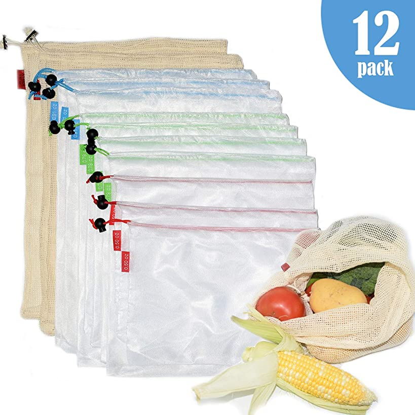 Reusable Mesh Produce Bags, 12 Packs Lightweight Washable and See Through Mesh Shopping Bags with Drawstring, Nonplastic Eco Friendly Packaging Bags for Shopping,Fruit,Veggies,and Toys Storage