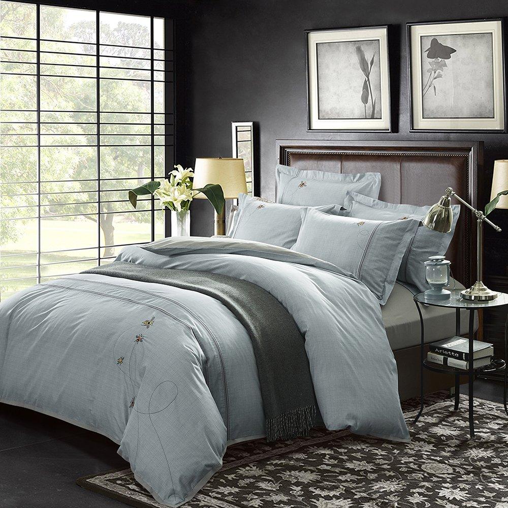 Downiaヨーロッパとアメリカのファッションシリーズコットン刺繍4ピース(1.5 Mベッド) - 綿のホームテキスタイル寝具/キルトシーツ/ 4セットのシーツのハニースタイルの肌に優しい寝具ABバージョン