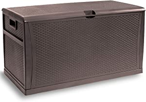 Barton Deluxe 120 Gallon Outdoor Deck Box Resin Patio Storage Container Storage Box Large Bin Store Backyard, Brown