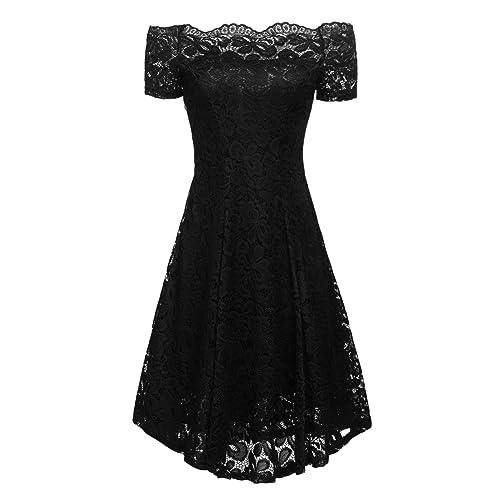 0378b7157e3 ACEVOG Women Vintage Lace Short Sleeve Floral Off Shoulder Cocktail Formal  Swing Dress