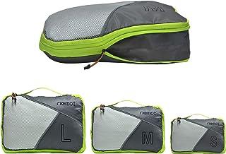 Packing Cubes de Compresión, Organizadores de Equipaje, 3 Set Organizador para Maletas, Bolsas para Ropa Zapato Sucia de Viaje, Accesorios para Viajes de Riemot Gris