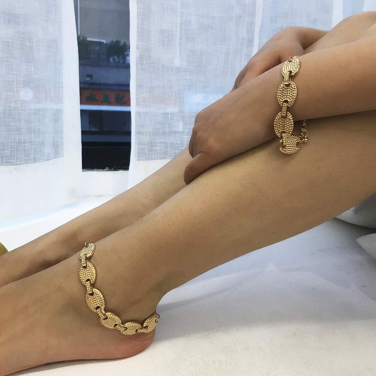 Chunky Wood Anklet with Pink Tassel Charm