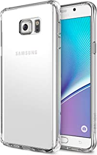 Ringke Fusion Compatible with Galaxy Note 5 Case Crystal Clear PC Back TPU Bumper Drop Protection, Shock Absorption Technology (Attached Dust Cap) - Clear
