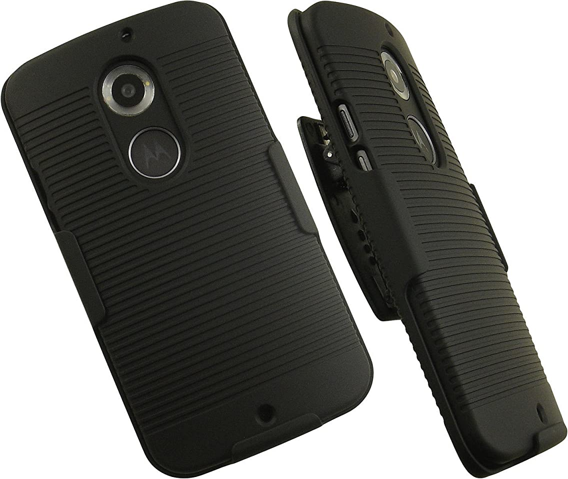 NAKEDCELLPHONE'S BLACK HARD CASE + BELT CLIP HOLSTER w/ STAND FOR MOTOROLA MOTO-X 2nd GEN 2014 (AT&T, Verizon, US Cellular, Unlocked)