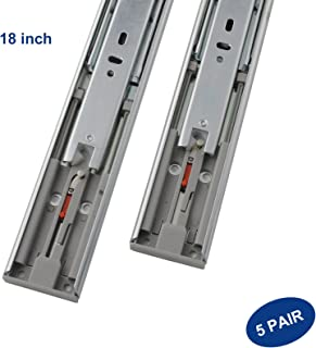 5 Pair x Knobonly Side Mount 18 inch Push to Open Full Extension Ball Bearing 100 LB Capacity Drawer Slides Runners
